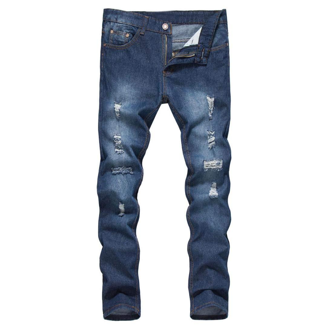 Mens Stretchy Ripped Skinny Biker Jeans Slim Fit Denim Pants Destroyed Hole