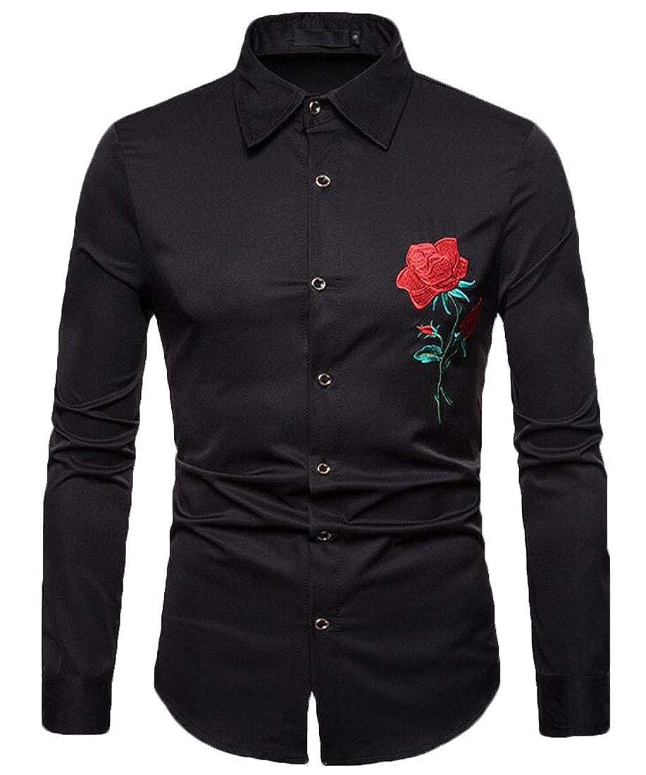 Zantt Men Button Down Embroidery Formal Long Sleeve Stylish Dress Shirts