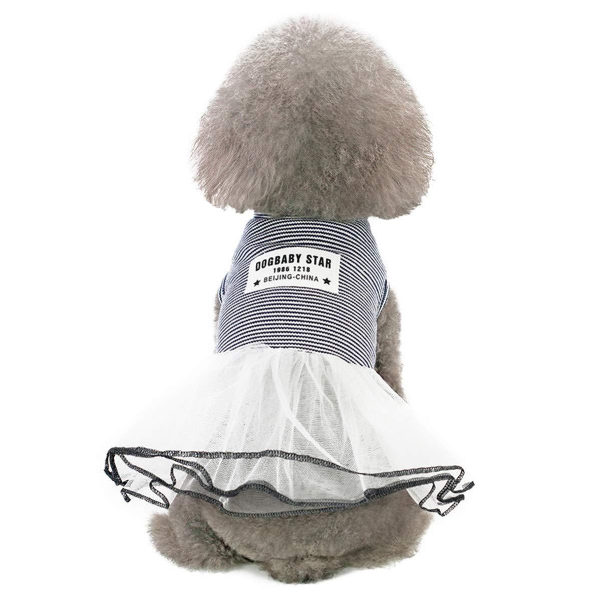 Pet Heroic Cuccioli Cane Gatto Vestiti Estate Cane Cucciolo Vestitini Maglia Gonna Abiti Rosa Grigio Righe Colori Richiamo Solo per Piccoli Cani e Gatti Cuccioli Femmine Peso 0.6-6KGS