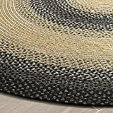 Safavieh Braided Collection BRD311A Hand Woven Black and Grey Oval Area Rug, 3 feet by 5 feet Oval (3' x 5' Oval)