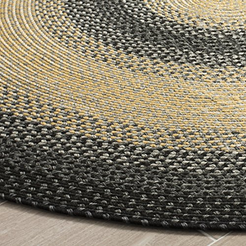 Safavieh Braided Collection BRD311A Hand Woven Black and Grey Oval Area Rug (3' x 5' (Black Oval Rug)