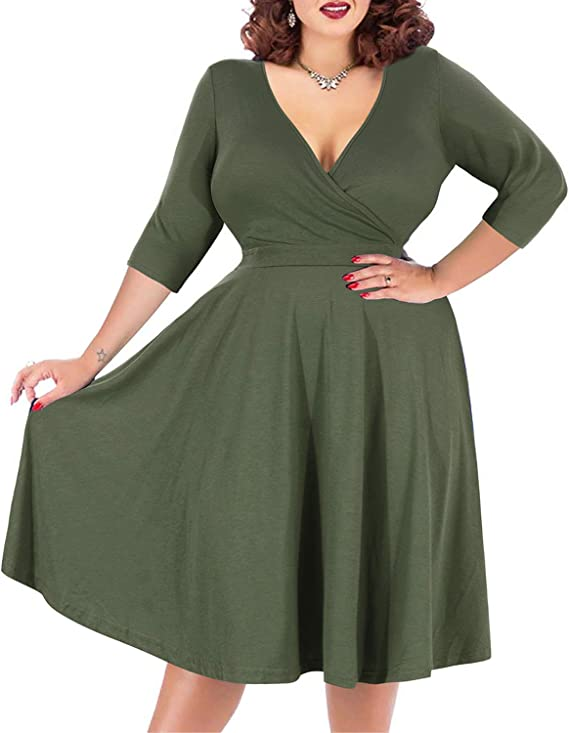 Women's V-Neckline Stretchy Casual Midi Plus Size Dress
