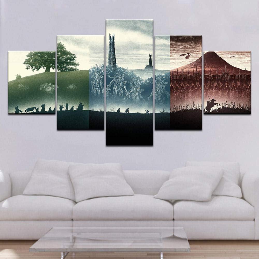 Mxsnow 5 Leinwanddrucke Rahmen Wandbilder Herr Der Ringe Film Leinwandbilder Poster Kunst Malerei F/ür Drucke Auf Leinwand