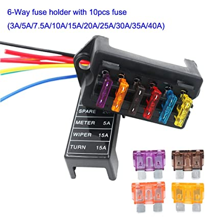 amazon com artgear 2 input 6 output car standard blade fuse holder rh amazon com 3 Amp Fuse Holder Marine 40 Amp Fuse Block
