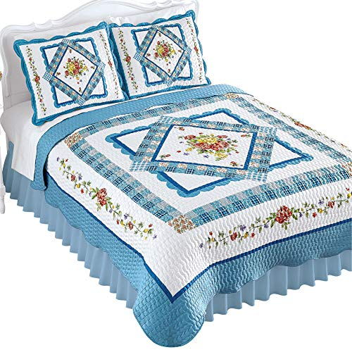 Collections Etc Diamond Rose Floral Pattern Patchwork Quilt with Blue Scalloped Border - Seasonal Décor for Bedroom, Blue, King
