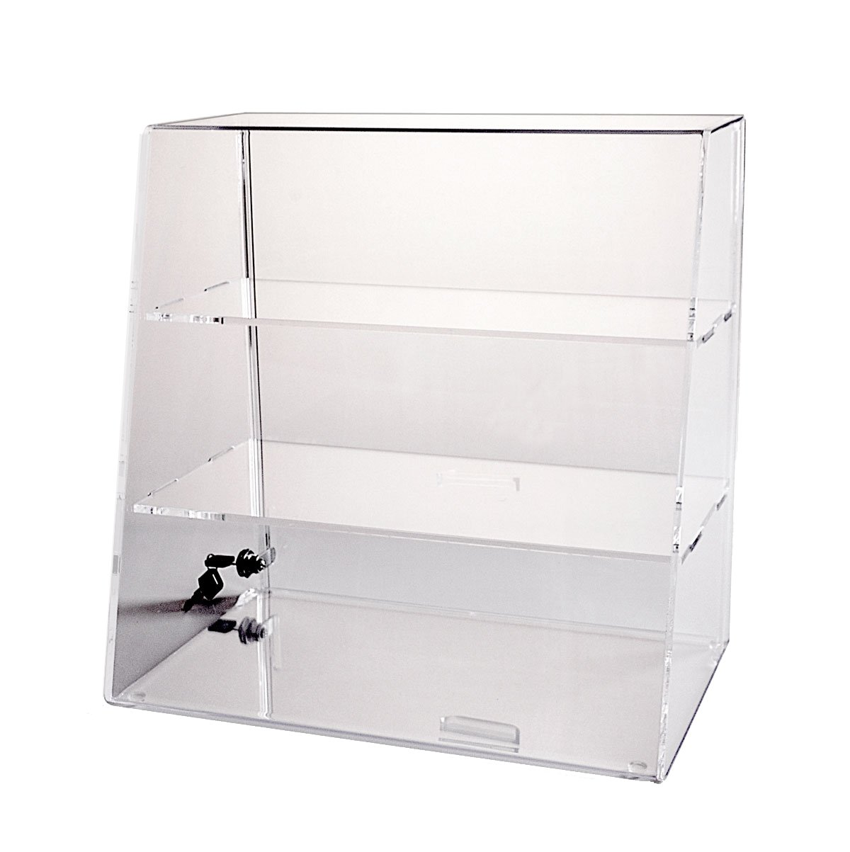 Acrylic Display Case 16 H x 16 W x 10 | Locking Display Case with 2 Shelves | Countertop Case with Angled Front and Slide-Up Back Door - ACAS162