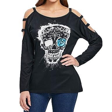 Disfraces Esqueleto Mujer, Top De Blusa con Estampado De Calavera ...