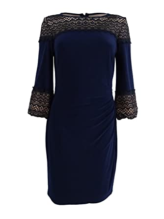 f7303abe478 Image Unavailable. Image not available for. Color  Lauren by Ralph Lauren  Women s Lace-Inset Jersey Dress ...