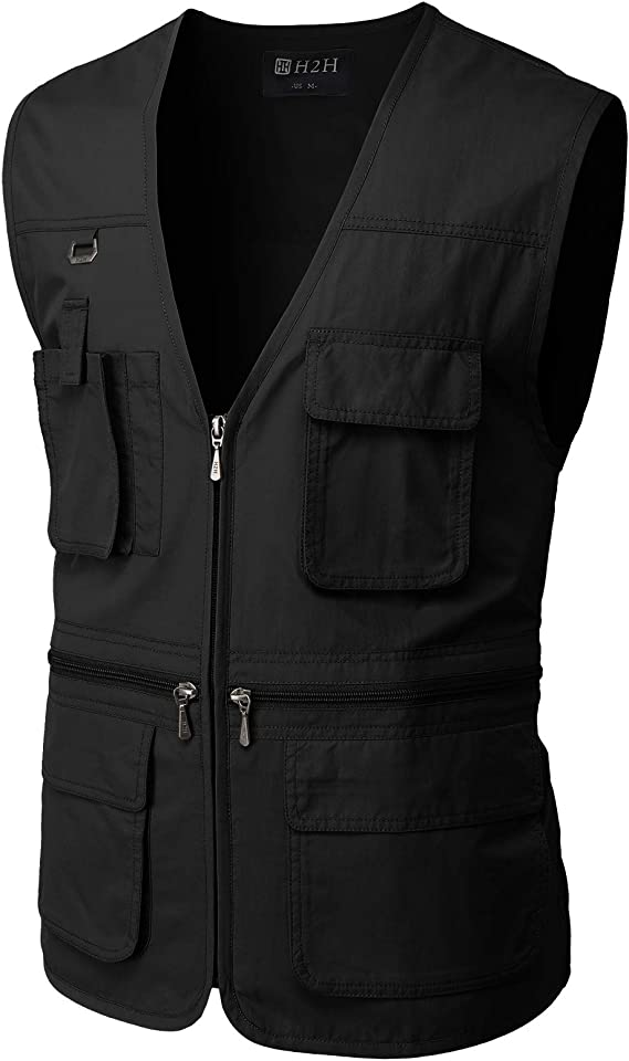 This is an image of the H2H Men's Outdoor Vest in black color, with zipper closures and four pockets on front.