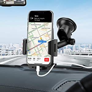 Mikikin Universal Car Phone Holder, Handsfree Cell Phone Mount for Car Dashboard Windshield with Strong Suction Cup for iPhone XR XS X 8 7 Se 6S 6 5S Galaxy S10 S9 S8 S7 S6 LG Sony and More
