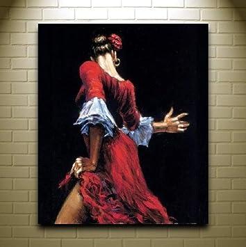 WACYDSD Bailarina De Flamenco Española En Vestido Rojo Pintura Al ...