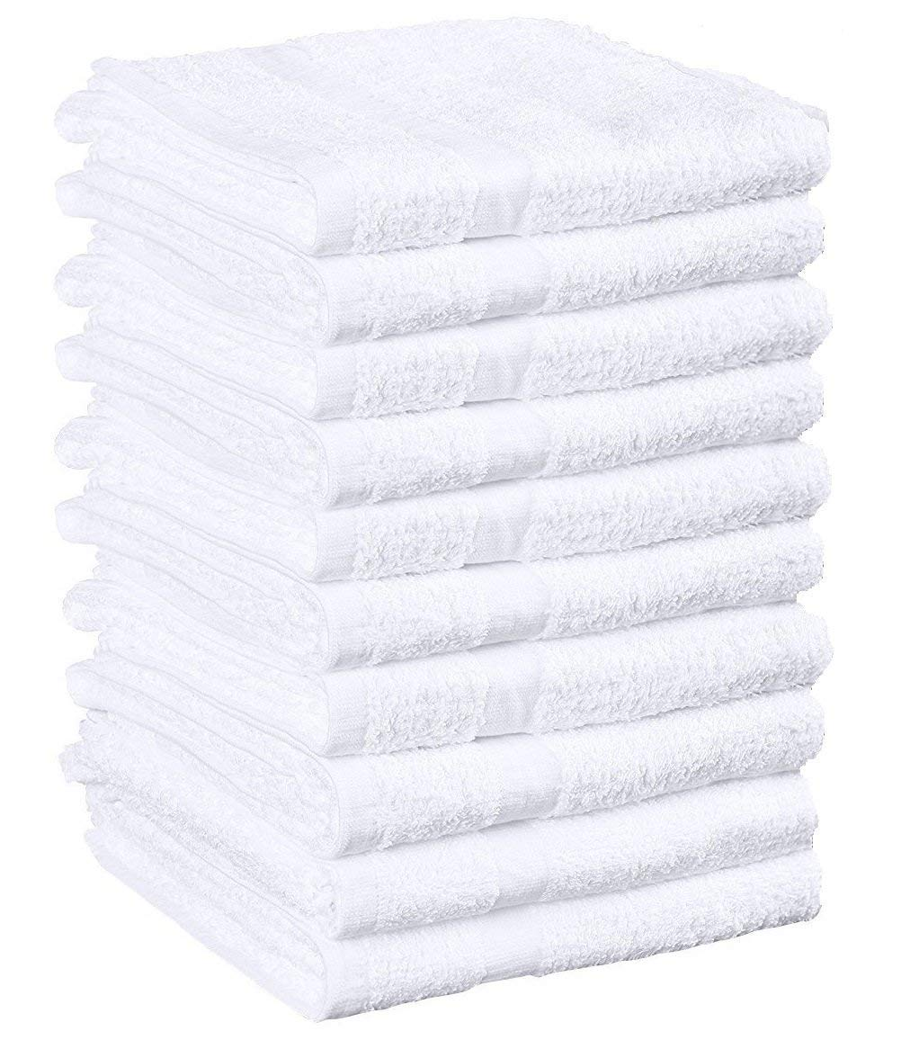 Omni Linens Cotton Salon Towels (12-Pack, White,16x27 inches) - Soft Absorbent Quick Dry Gym-Salon-Spa Hand Towel (White)