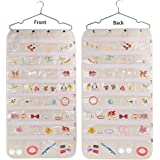MCOMCE Hanging Jewelry Organizer, Double Sided 56 Pockets Jewelry Organizer with Zippered Pockets, Necklace Holder Jewelry Chain Organizer for Earrings Necklace Bracelet Ring with Hanger, Beige