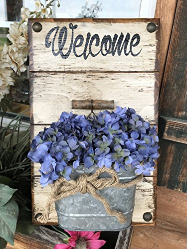 WELCOME sign to hang by front door with tin BUCKET *Wall Planter *Galvanized Metal BUCKET pail flowers (optional) *Reclaimed Country Distressed Wood -Antique White (Off-White) *Indoor or Outdoor 10X16 Review