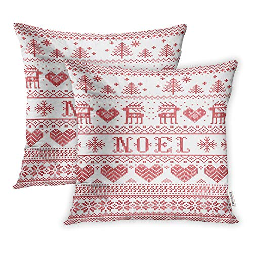 Emvency Set of 2 20x20 Inch Throw Pillow Covers Cases Noel Scandinavian Inspired by Norwegian Christmas Festive Winter Pattern in Cross Stitch Reindeer Tree Heart Case Cover Cushion Two Sided]()