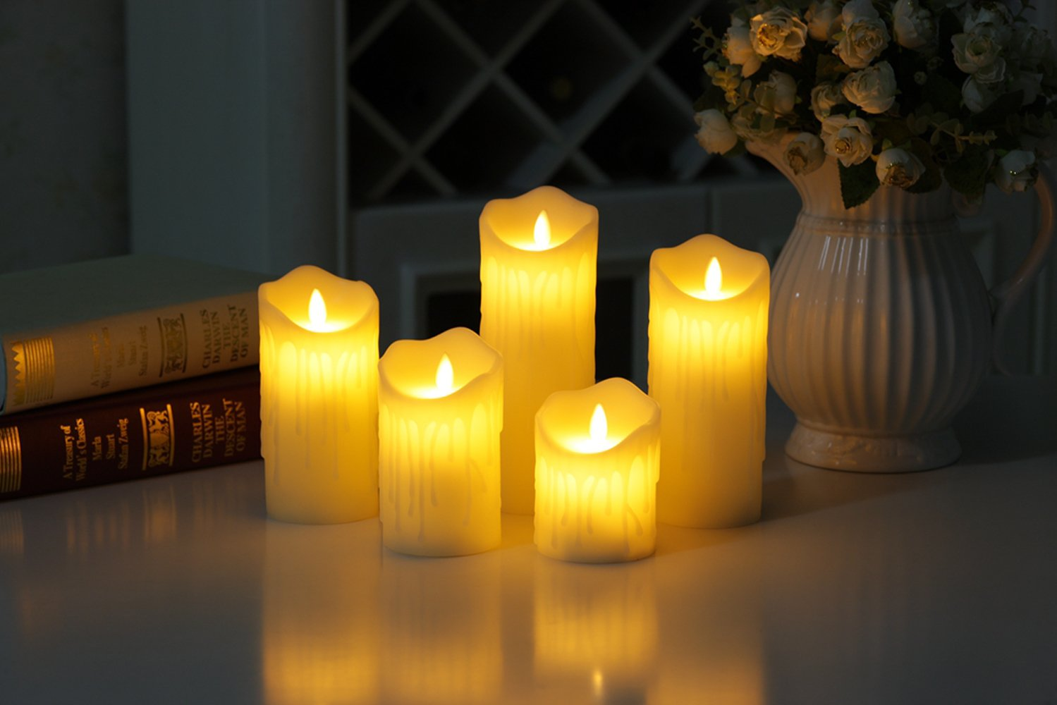 PJS 5-Pack Christmas Dripping Wax Moving Flame Wick Led Candles with Charging(Included USB),Ivory Wax Pillar Bathroom, Chrismas Led Candles with Tearing Flameless Moving Wick Led Candles