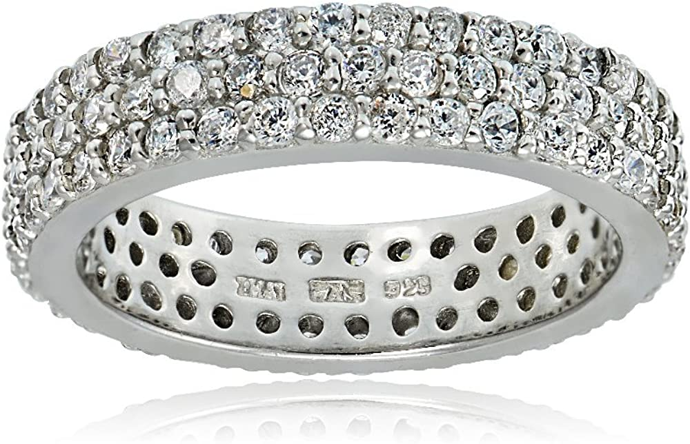 Hoops & Loops Sterling Silver Cubic Zirconia Three Row Eternity Band Ring, Size 5