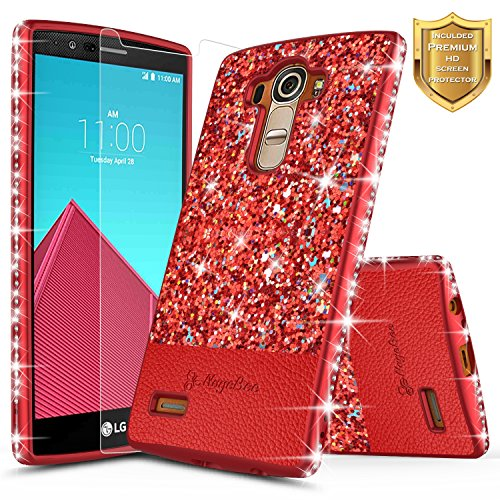 LG G4 Case with [Screen Protector HD Clear], NageBee Shiny Diamond Glitter Bling Crystal Super Slim Protective Soft TPU Leather Hybrid Case for LG G4 (Red)
