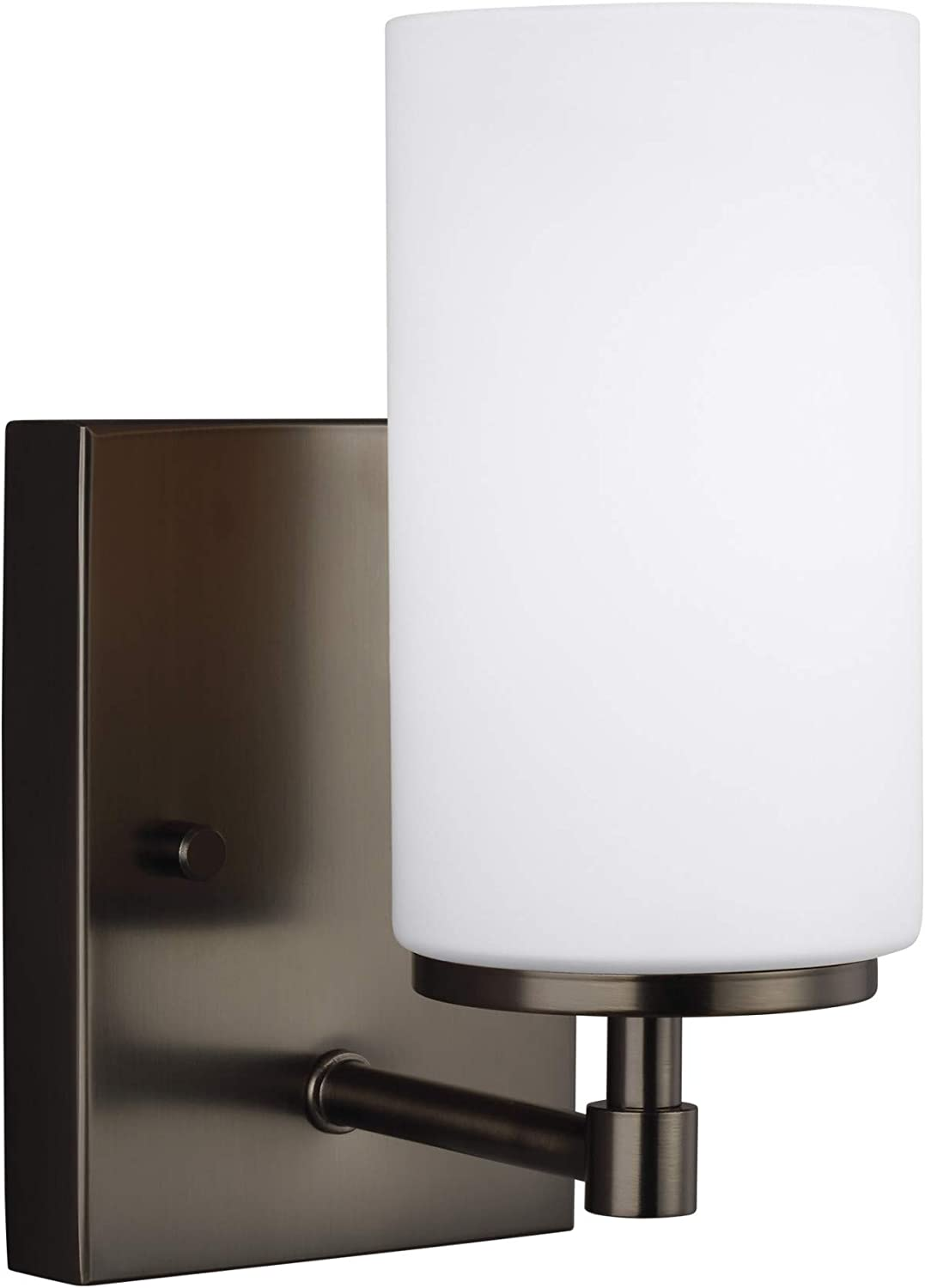 Sea Gull Lighting 4124601-778 Alturas One Light Wall Sconce Brushed Oil Rubbed Bronze Finish with Etched//White Glass