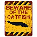 Print Crafted - Beware of The Catfish | Funny Vintage Metal Garden Warning Sign