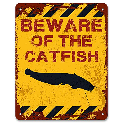 Print Crafted - Beware of The Catfish | Funny Vintage Metal Garden Warning (About Catfish Pond)