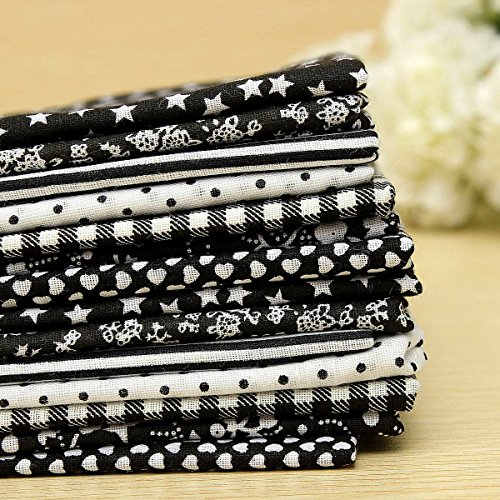 KINGSO 7PCS Cotton Fabric Bundles Quilting Sewing DIY Craft 19.7x19.7inch Black (Dallas Fabric Cowboys)