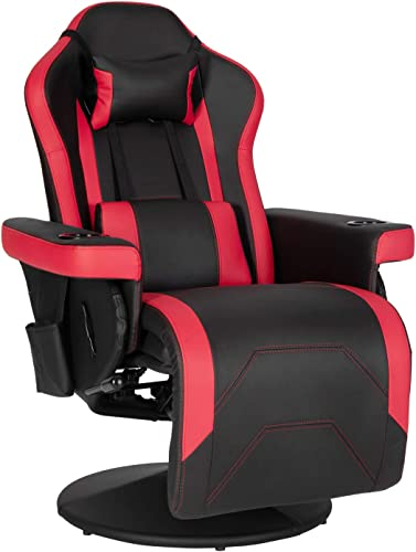 Modern-Depo Video Gaming Recliner Chair Ergonomic High Back Swivel Reclining Chair with Cupholder, Headrest, Lumbar Support, Adjustable Backrest and Footrest, Black Red