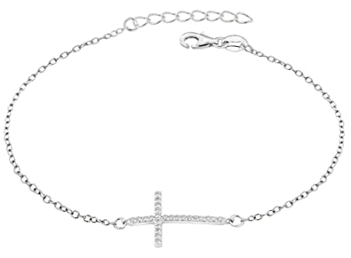 Tuscany Silver Sterling Silver Cross Bracelet of 19cm/7.5 anLr5AcRL8