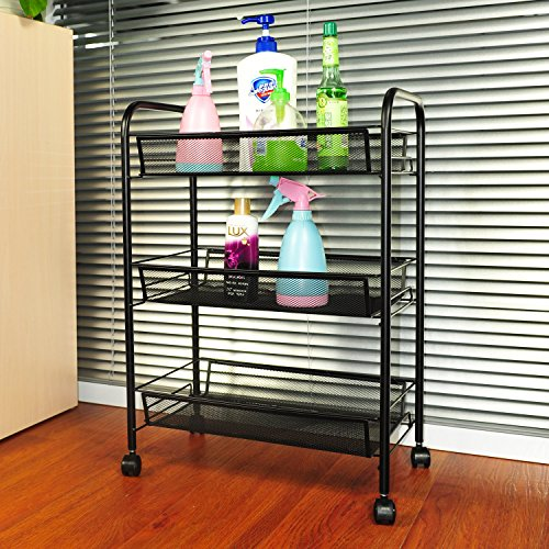 YIMU 3 Tier Mesh Rolling Storage Cart with Baskets, Office File Utility Cart on Wheels, Black