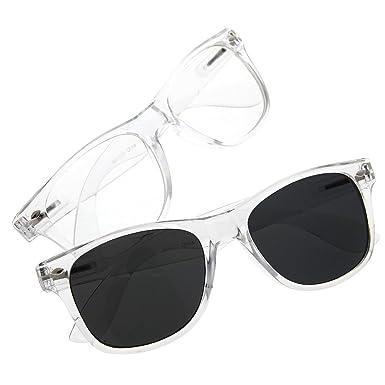 grinderpunch wayfarer crystal clear frame lens transparent sunglasses eyeglasses 2 pack