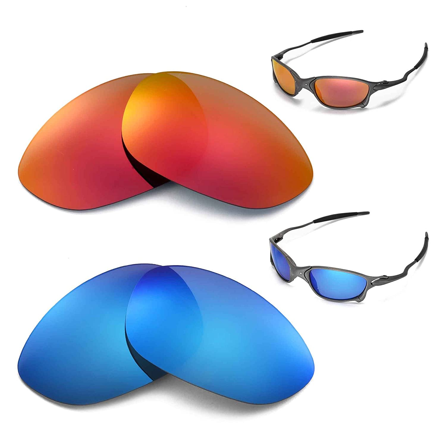 715917fc4a Walleva Polarized Fire Red + Ice Blue Lenses For Oakley X Metal XX   Amazon.co.uk  Clothing