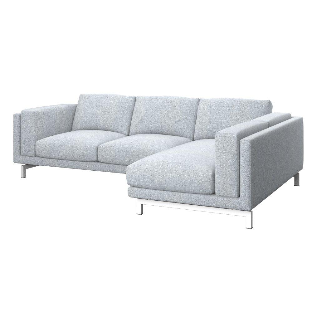 Soferia - IKEA NOCKEBY 2-seat sofa cover with right chaise longue, Naturel Light Grey