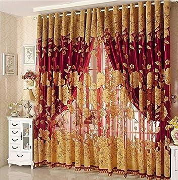 Diossad Transparent Gardinen Rot Vorhang Gardine Fenster Mit Blatt Muster Fr Wohnzimmer Schlafzimmer Blume