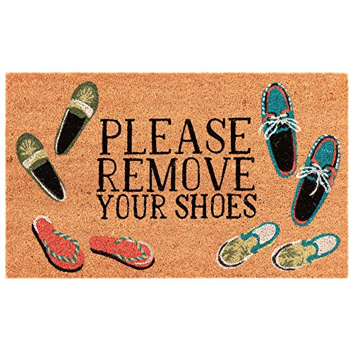 Liora Manne NTR12222412 Natura Summer Coastal Please Remove Your Shoes Natural Outdoor Welcome Coir Door Mat, 18
