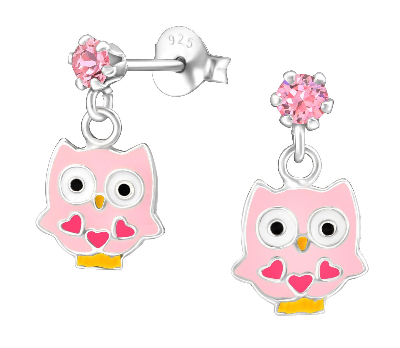Best Wing Jewelry .925 Sterling Silver''Owl'' Made with Swarovski Crystal Earrings for Children and Teens