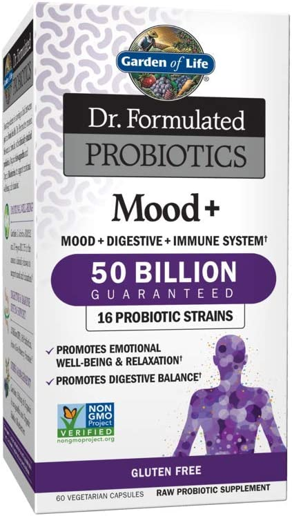 Amazon Com Garden Of Life Dr Formulated Probiotics Mood Promotes Emotional Health Relaxation Digestive Balance Non Gmo Probiotic Supplement Nsf Gluten Free 60 Vegetarian Capsules Shipped Cold Health Personal Care