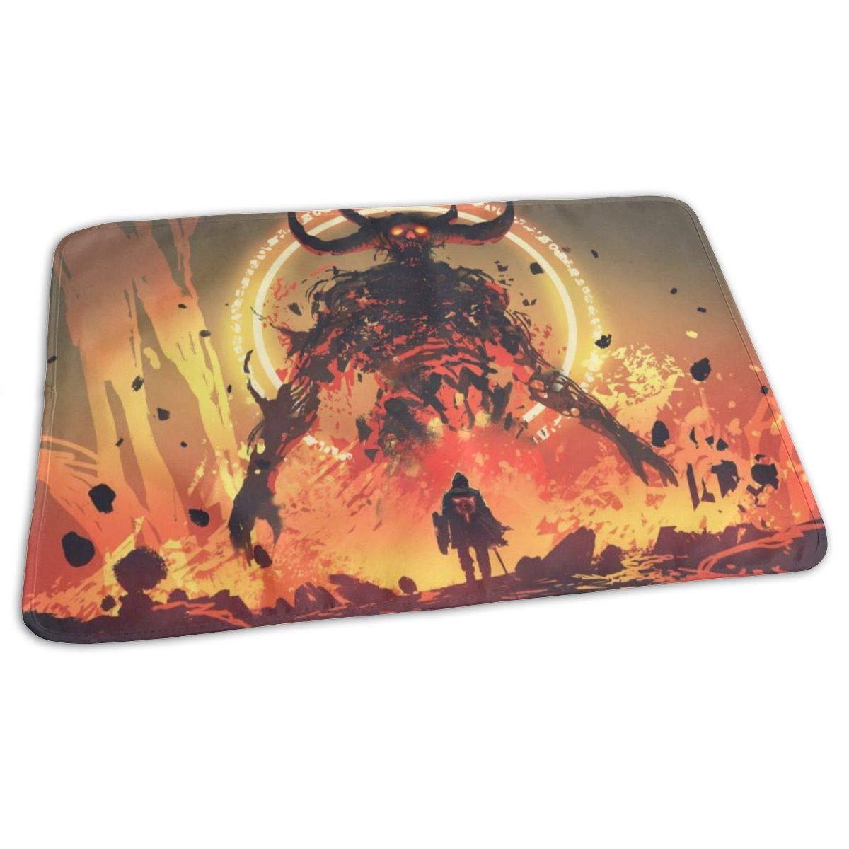 Osvbs Lovely Baby Reusable Waterproof Portable Knight with A Sword Facing The Lava Demon in Hell Changing Pad Home Travel 27.5''x19.7'' by Osvbs
