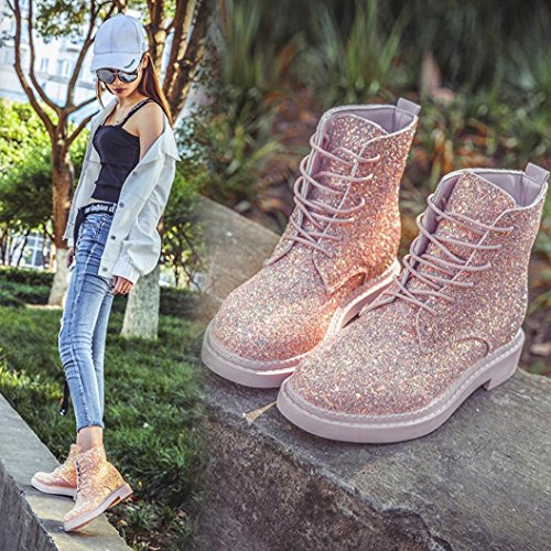 Sequins Ankle Women Boots Ladies Non Casual Slip Pink LuckyBB Boots TR76q7B