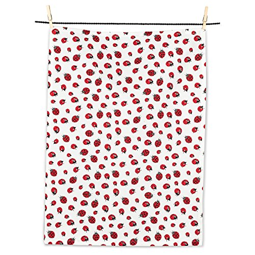 Abbott Collection 56-KT-DN-07 Ladybugs Tea Towel