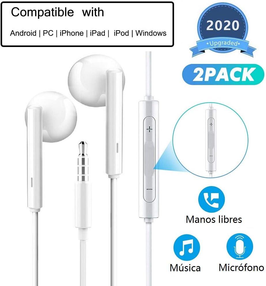 HENGHUA 2 Pack Auriculares con Micrófono 3.5 mm Auriculares con Cable en Intrauditivo Auriculares con Boton de Volumen Compatible con Samsung,Sony,Huawei,OnePlus,HTC,MP3/MP4 Players (Blanco)
