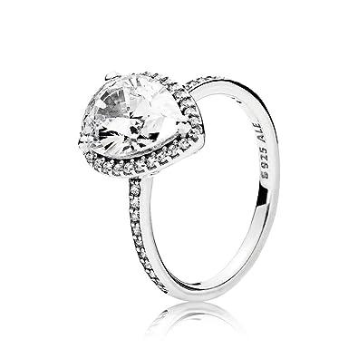 fa9b44d201c63 Amazon.com: PANDORA Radiant Teardrop Ring, Sterling Silver, Clear ...