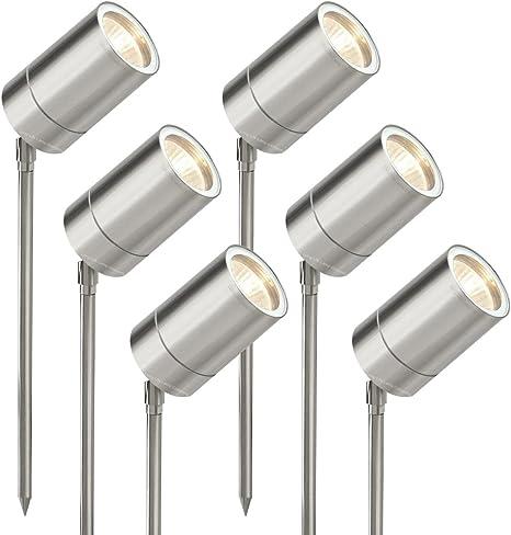 6 Pack Stainless Steel Outdoor Garden Ground Spike Light Adjustable ZLC0201