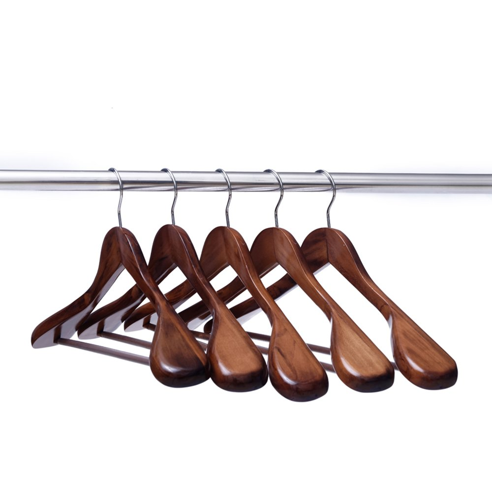 Ezihom Clothes Hangers Gugertree Wooden Suit Hangers with Extra-Wide Shoulder, Retro Finish, Wood Coat Hangers, Pant Hangers, 5pcs/Pack by EZIHOM SINCE 2014