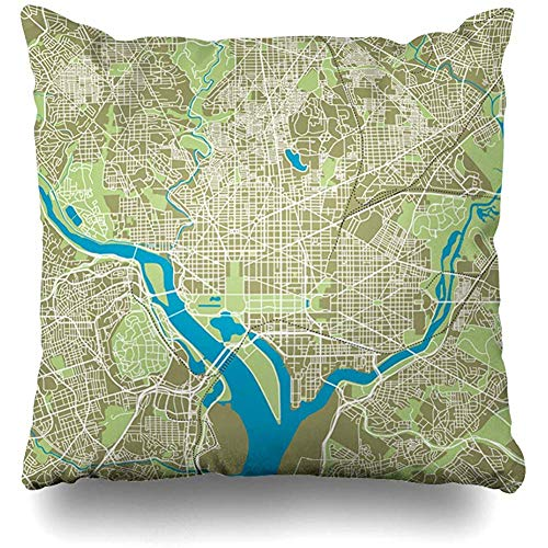 Throw Pillow Cover Square Cases 18x18 Inches Pentagon Street Washington Dc Map Ultra Capital Detailed Road Highway Trip City Virginia Monument Cushion Home Decor Pillowcase -