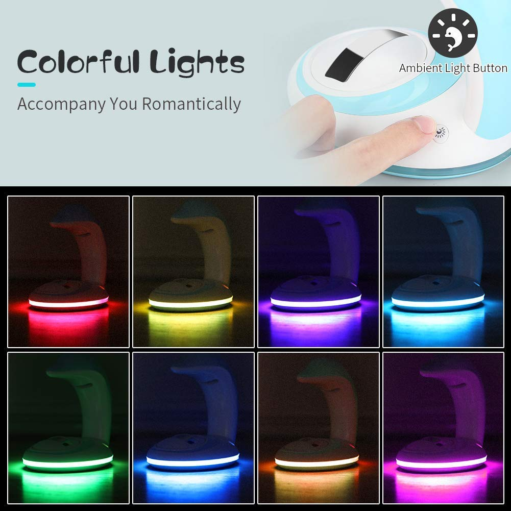 XIYUNTE USB Powered Rainbow Projector Light Color Changing Mood Night Projector Lights for Children Bedside Lamps Accompany Sleeping Rainbow Light Decoration Kids Room