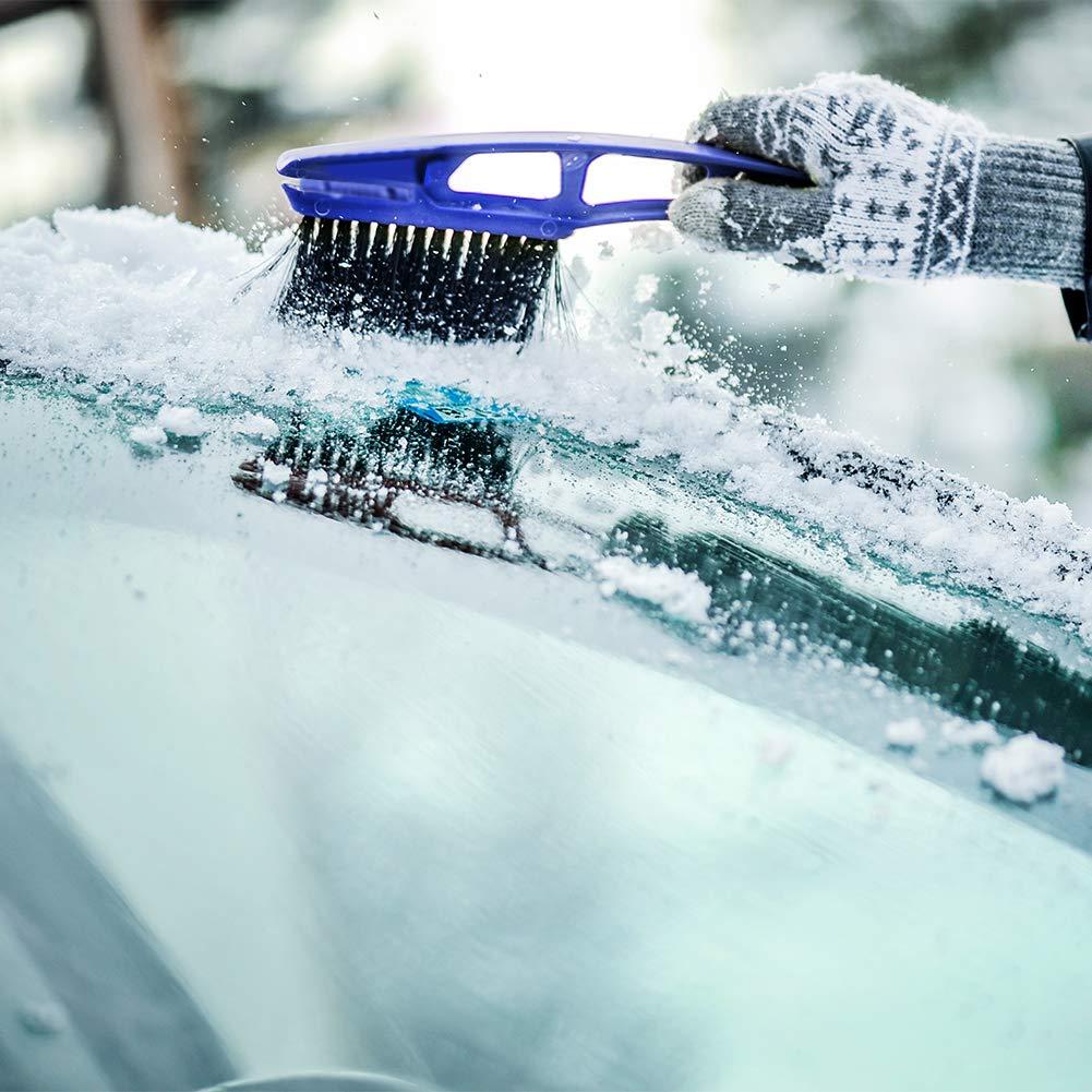Cepillo de Nieve Herramienta de Limpieza Ahomi 2 en 1 rascador de Hielo para Parabrisas de veh/ículo rascador de Nieve
