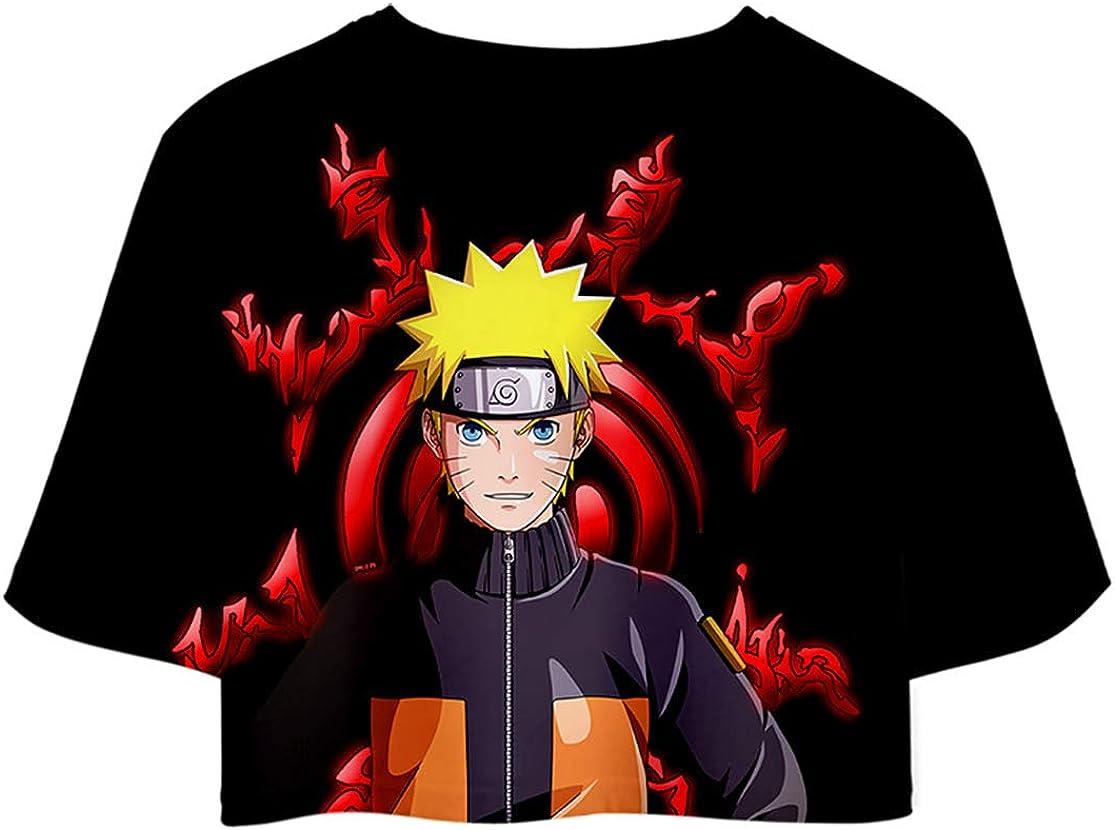 HAOSHENG M/ädchen Damen Anime Naruto Casual Crop Top T-Shirts und Shorts Uchiha Street Fashion 2 St/ück Set