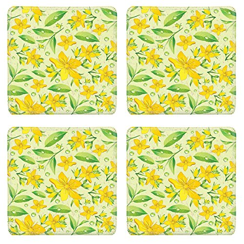 Liili Square Coasters Non-Slip Natural Rubber Desk Pads Elegance Seamless beige and Hypericum with green tea IMAGE ID 11289025