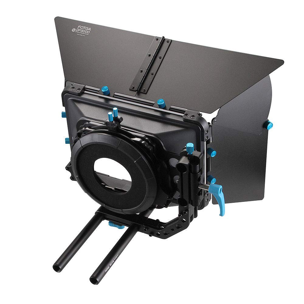 Fotga DP3000 M3 4x4 Swing-Away Matte Box for 15mm Rail Rod Follow Focus Rig Canon EOS R EOS-1D X Mark II 5D II III IV 5DS R 6D 7D II Nikon D3500 Z6 Z7 D5 D850 D90 D750 Sony A7 A7R A7S II III BMPCC 4K by FOTGA