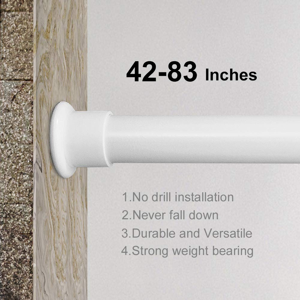 Best Tension Shower Rod.Jimmloo Tension Curtain Rod Shower Curtain Rod 42 83 Inches Tension Window Curtain Rods White